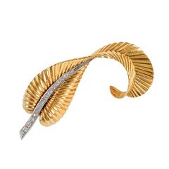 1950s Rose Gold Diamond Feather Brooch