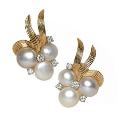 William Ruser Mississippi River Pearl Diamond Gold Earrings, circa 1950