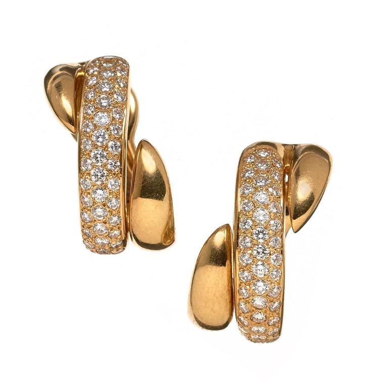 Chaumet Pave Set Diamond Yellow Gold Earclips
