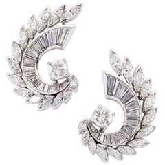 1950s Brilliant, Baguette and Navette Cut Diamond Earrings