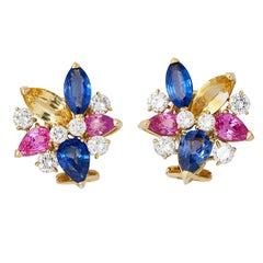 1970s Diamond, Pink, Yellow and Blue Sapphire Earclips