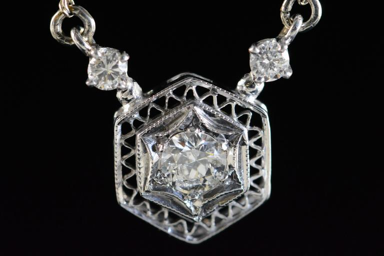 Victorian Diamond Gold Filigree Necklace In Excellent Condition For Sale In Frederick, MD