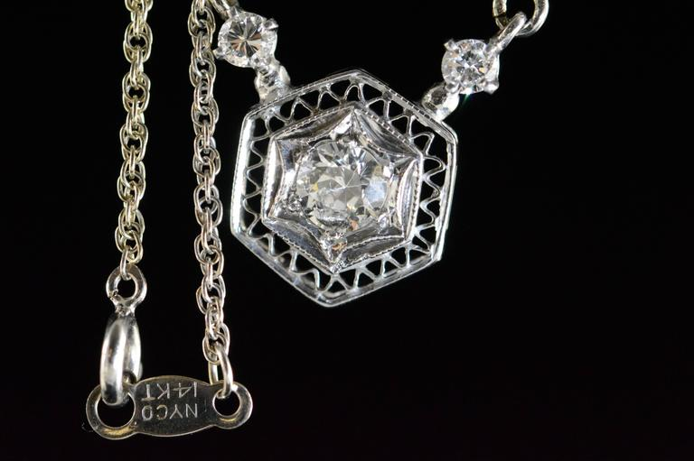 Victorian Diamond Gold Filigree Necklace For Sale 2