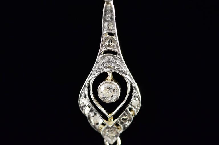 1930s Art Deco 1.04 Carat Diamond Two Color Gold Pendant  5