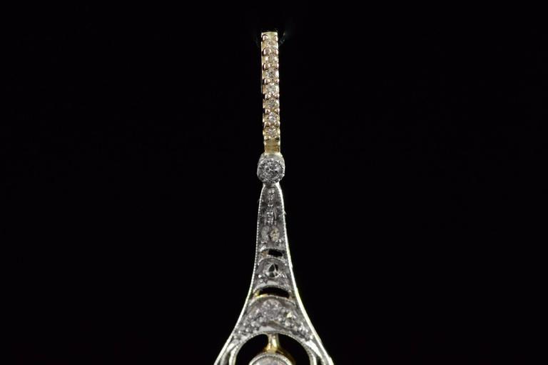 1930s Art Deco 1.04 Carat Diamond Two Color Gold Pendant  4