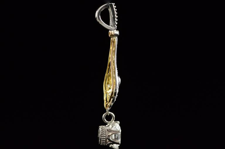1930s Art Deco 1.04 Carat Diamond Two Color Gold Pendant  7
