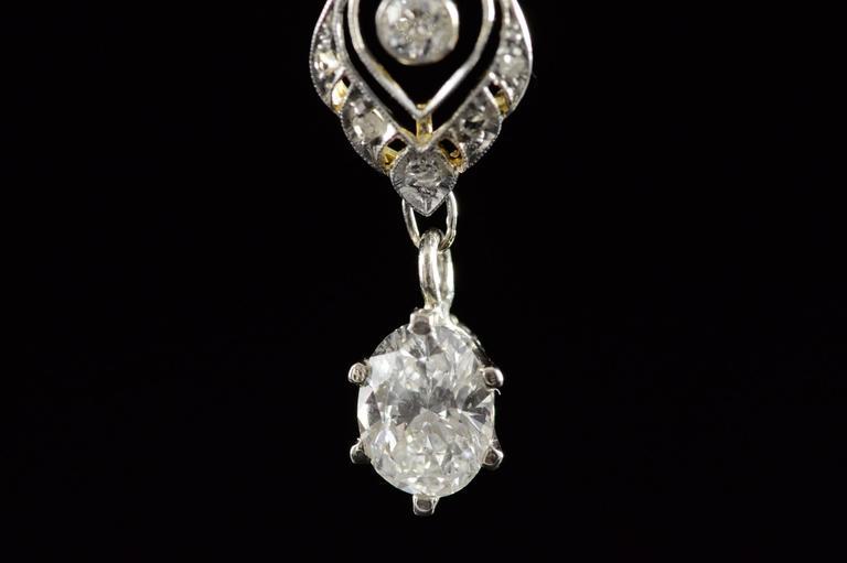 1930s Art Deco 1.04 Carat Diamond Two Color Gold Pendant  6