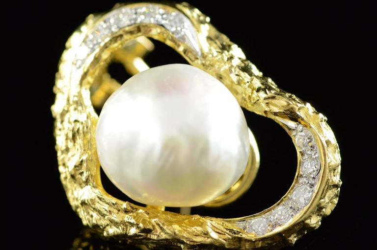 Baroque Pearl Diamond Gold French Clip Earrings  3