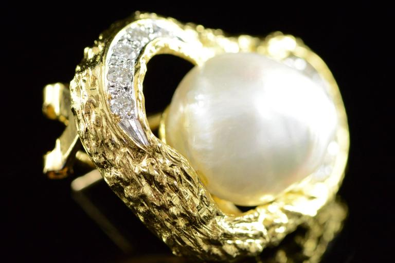 Baroque Pearl Diamond Gold French Clip Earrings  4