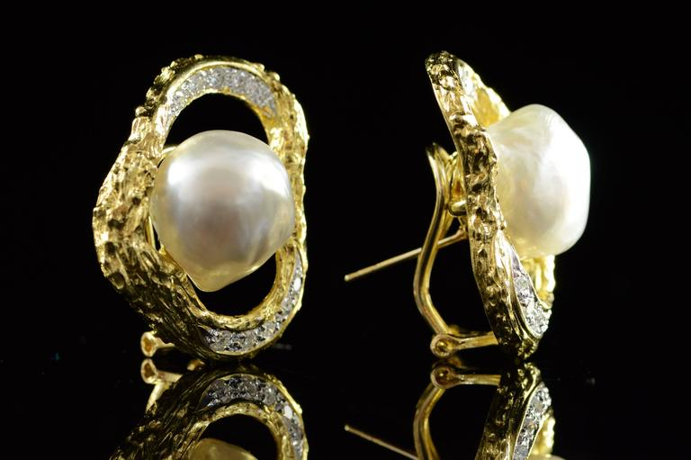 Baroque Pearl Diamond Gold French Clip Earrings  2