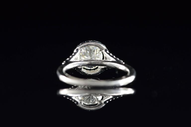 Diamond Platinum Halo Engagement Ring  For Sale 3