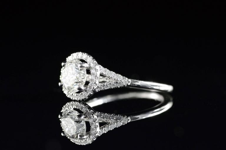 Diamond Platinum Halo Engagement Ring  For Sale 1