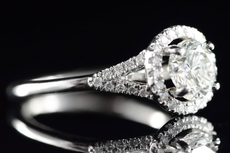 Women's Diamond Platinum Halo Engagement Ring  For Sale