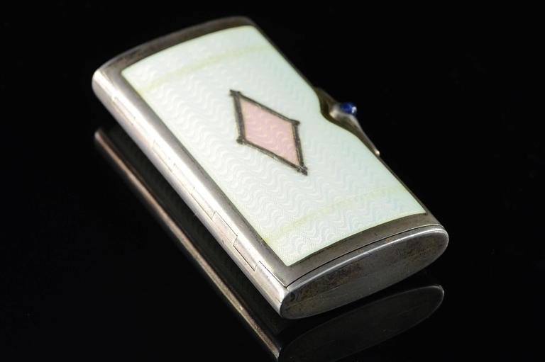 Women's or Men's Vintage Pink & White Enamel Box For Sale