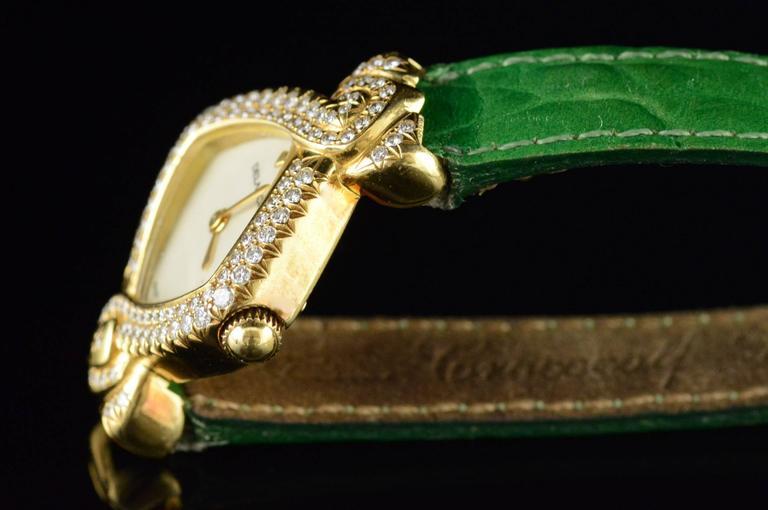 Women's or Men's Delance Swiss Diamond & Gold Watch For Sale