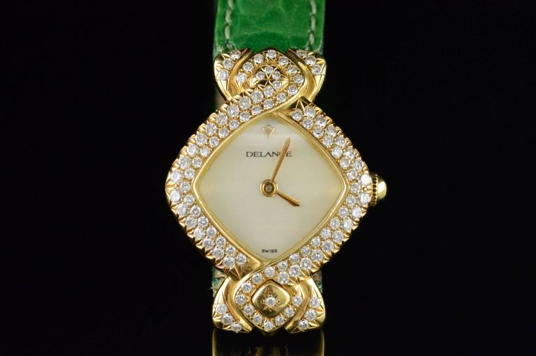 Delance Swiss Diamond & Gold Watch In Excellent Condition For Sale In Frederick, MD