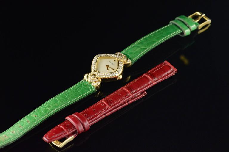 Delance Swiss Diamond & Gold Watch For Sale 4