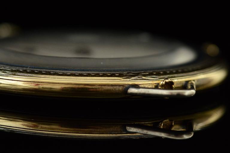 1920s Ralph Dewey Blue Enamel Gold Pocket Watch For Sale 1