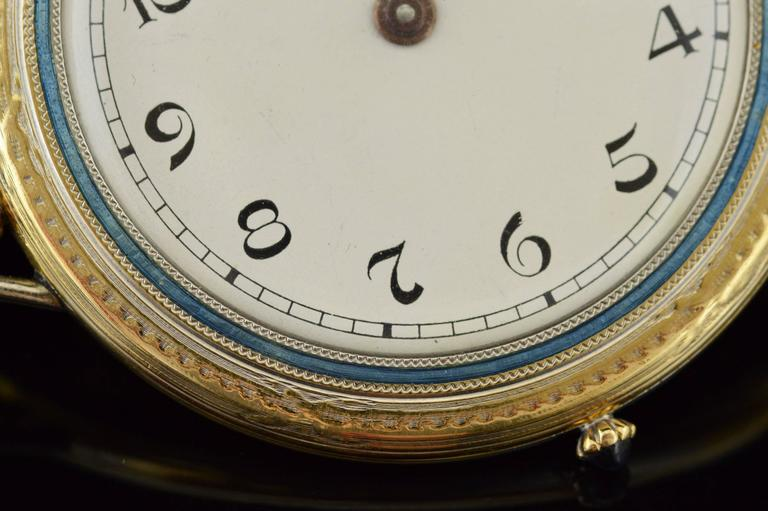 1920s Ralph Dewey Blue Enamel Gold Pocket Watch In Excellent Condition For Sale In Frederick, MD