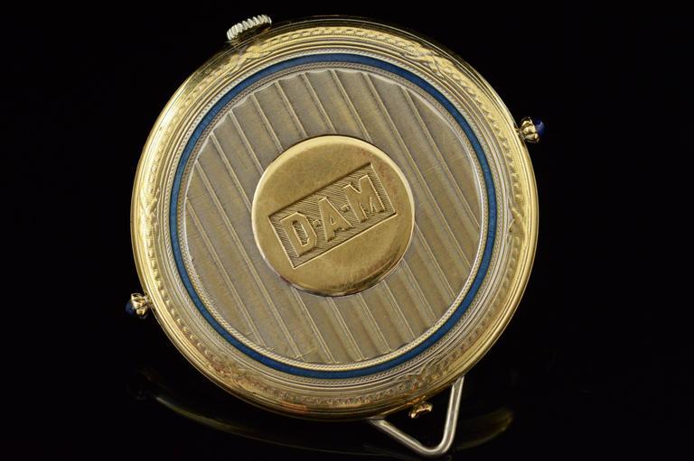 1920s Ralph Dewey Blue Enamel Gold Pocket Watch For Sale 4