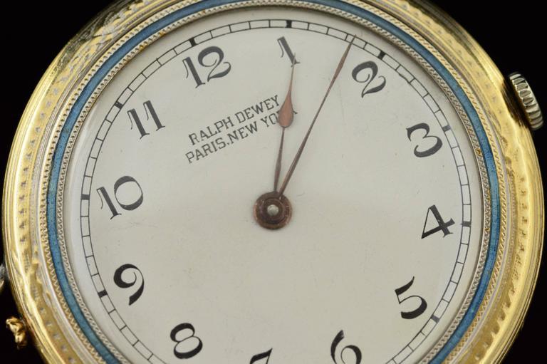 Art Deco 1920s Ralph Dewey Blue Enamel Gold Pocket Watch For Sale