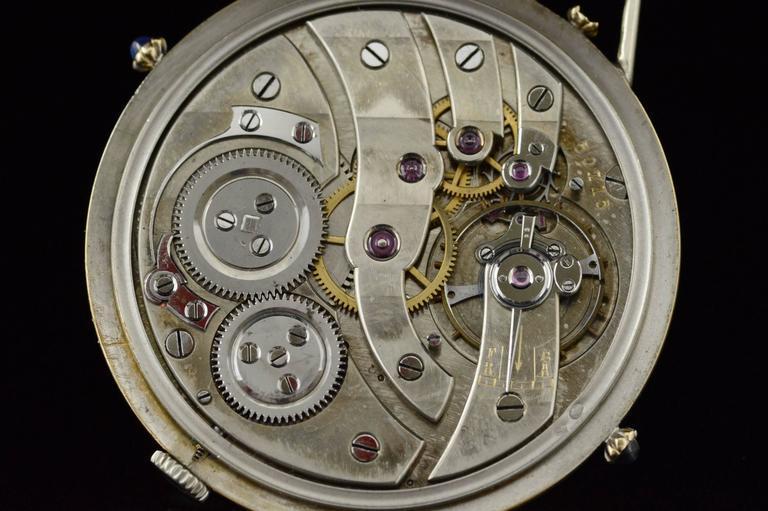 1920s Ralph Dewey Blue Enamel Gold Pocket Watch For Sale 2