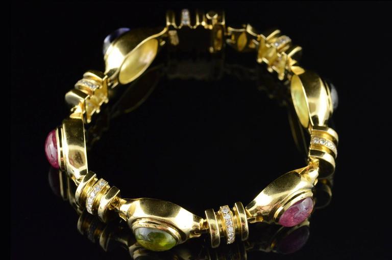 Cabochon Gemstone Diamond Gold Bracelet 4