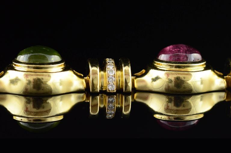 Cabochon Gemstone Diamond Gold Bracelet 5
