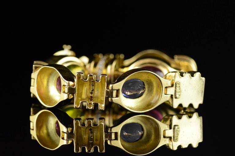 Cabochon Gemstone Diamond Gold Bracelet 7
