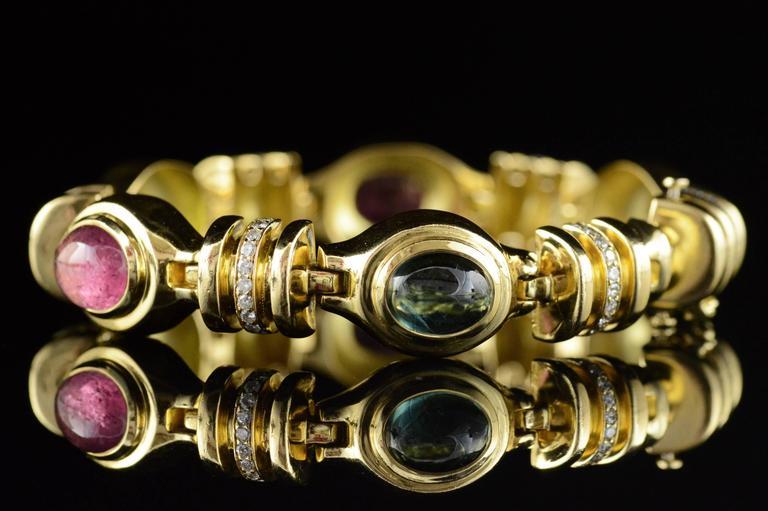 Cabochon Gemstone Diamond Gold Bracelet 2