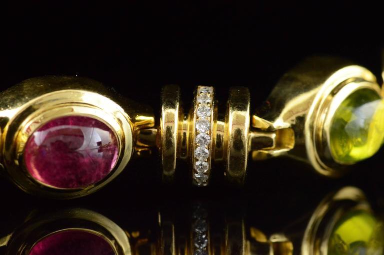 Cabochon Gemstone Diamond Gold Bracelet 6