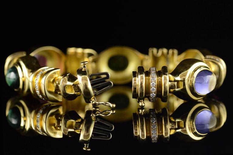 Cabochon Gemstone Diamond Gold Bracelet 9