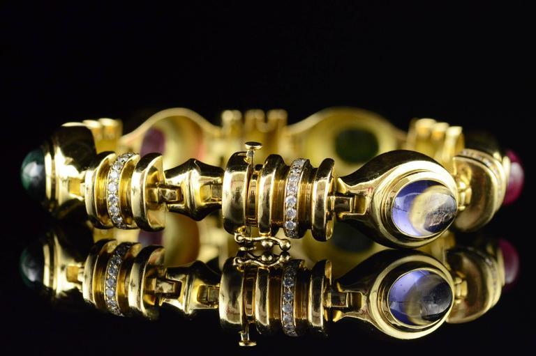Cabochon Gemstone Diamond Gold Bracelet 8
