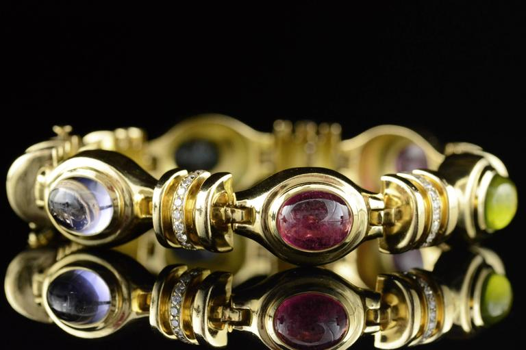 Cabochon Gemstone Diamond Gold Bracelet In Excellent Condition For Sale In Frederick, MD