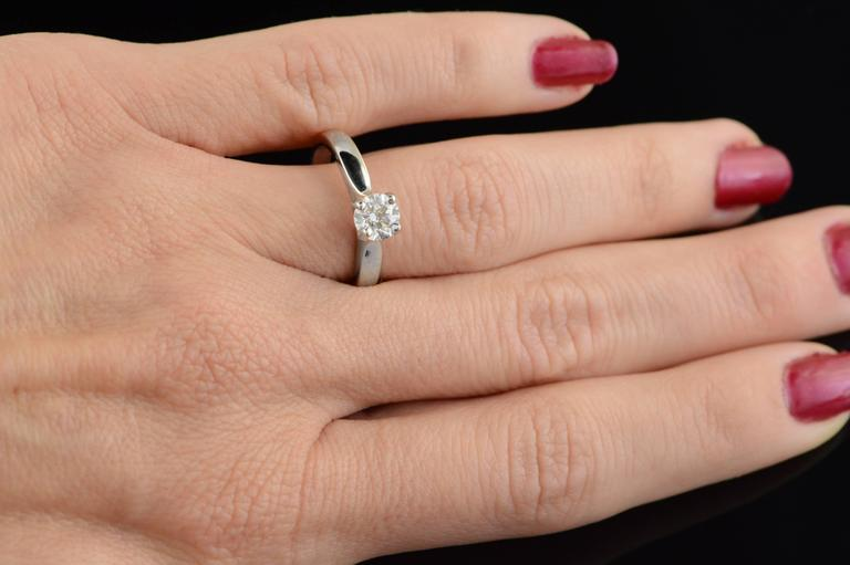 0.70 Carat Hearts on Fire Diamond Solitaire Engagement Ring For Sale 4