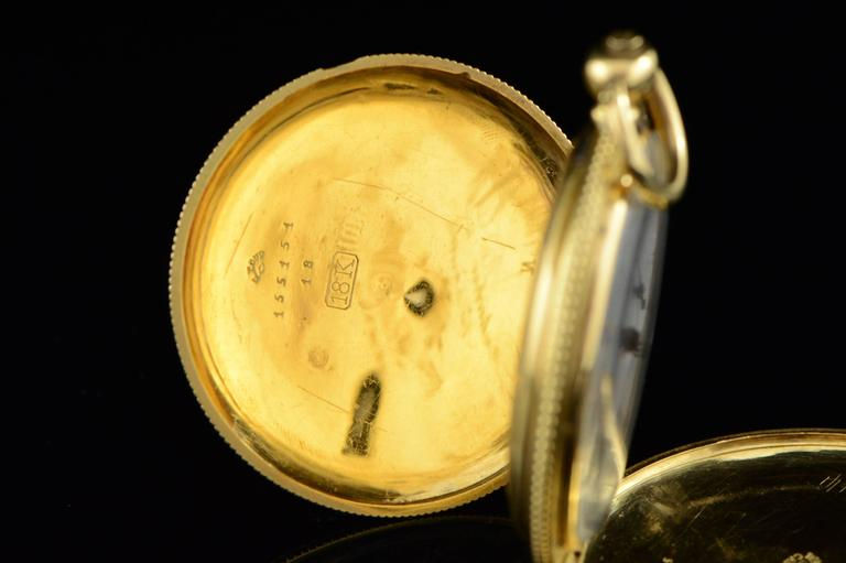 Longines Ernest Francillon Yellow Gold Enamel Key Wind Pocket Watch circa 1850s  For Sale 2