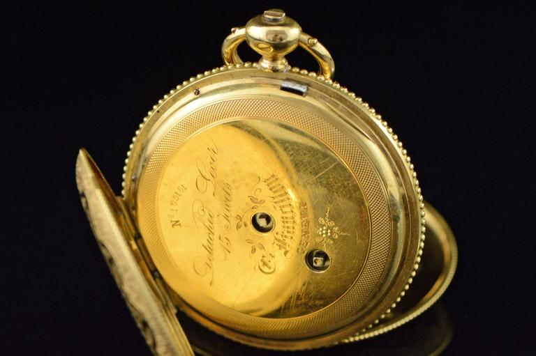 Longines Ernest Francillon Yellow Gold Enamel Key Wind Pocket Watch circa 1850s  For Sale 3
