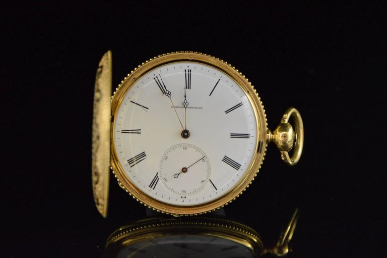 Women's or Men's Longines Ernest Francillon Yellow Gold Enamel Key Wind Pocket Watch circa 1850s  For Sale