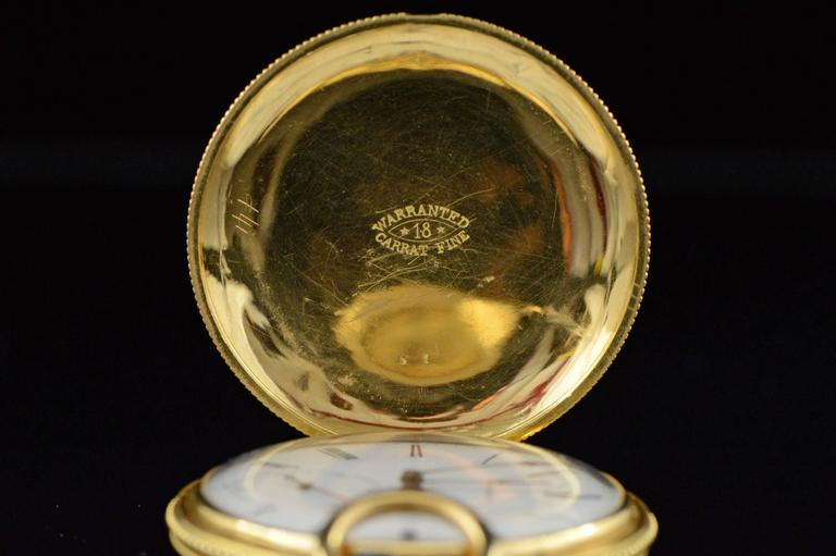 Longines Ernest Francillon Yellow Gold Enamel Key Wind Pocket Watch circa 1850s  For Sale 1