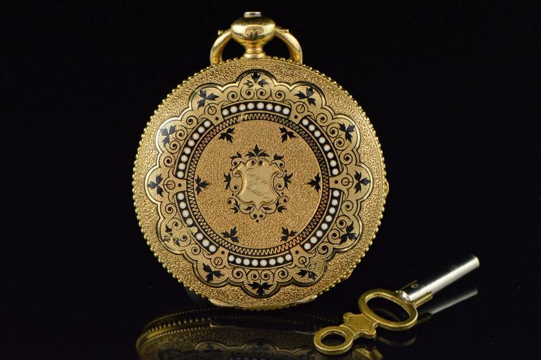 ·Item: Ernest Francillon of Longines 1800s Key Wind Beautiful Enamel Pocket Watch  ·Era: Victorian / 1850s  ·Composition: 18k Gold Marked / Tested  ·Condition:  Watch is not running. This watch is an early watch by the founder of Longines. It