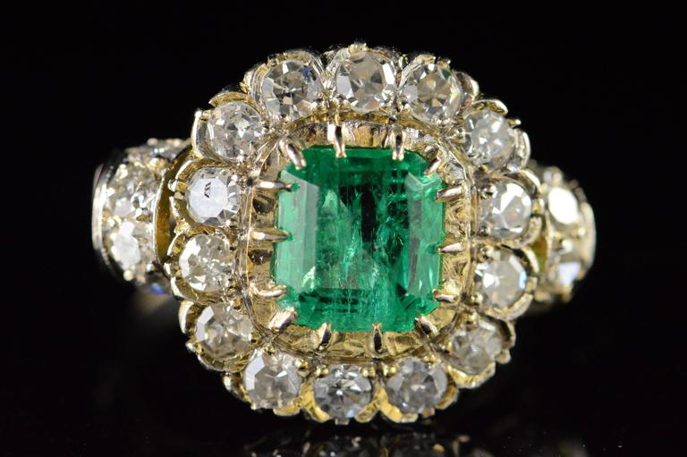 This beautiful handcrafted emerald and diamond ring was created is a fine example of the Victorian era's style and allure.