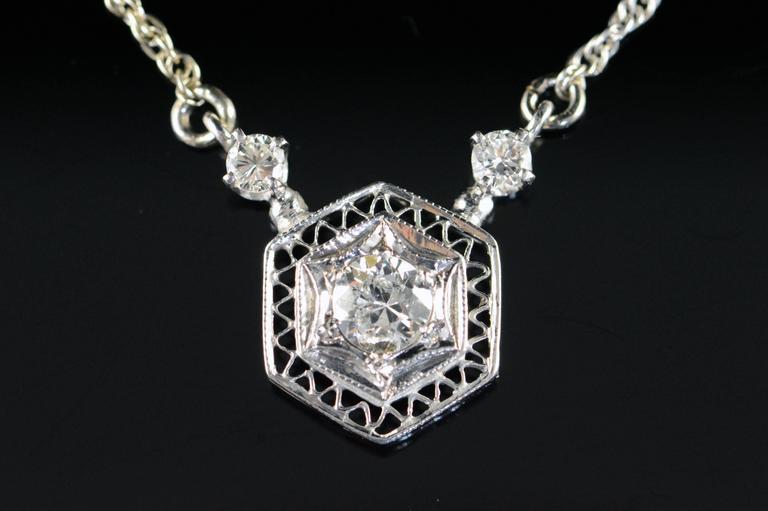 Victorian Diamond Gold Filigree Necklace 2
