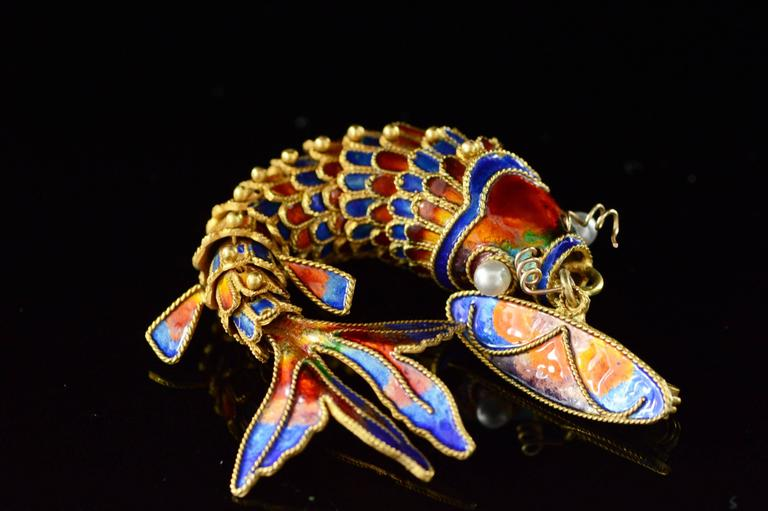 Victorian Era Chinese Red and Blue Enamel Gold Articulated Fish Pin 2