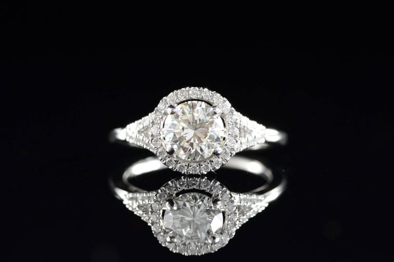 Diamond Platinum Halo Engagement Ring  In Excellent Condition For Sale In Frederick, MD
