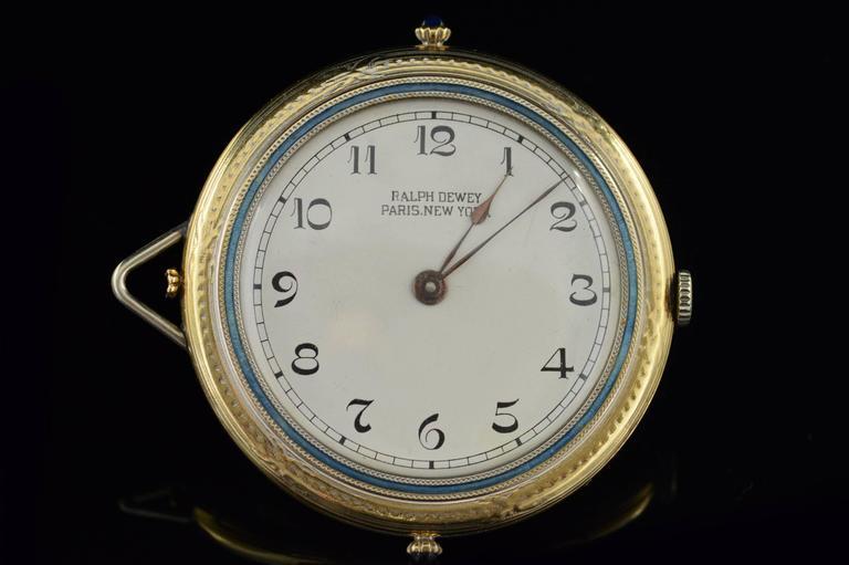 ·Item: 14K Ralph Dewey Paris New York Blue Enamel Pocket Watch Yellow Gold  ·Era: 1920s  ·Composition: 14k Gold Marked/Tested  ·Condition: Estate - Excellent  ·Weight: 51.1g