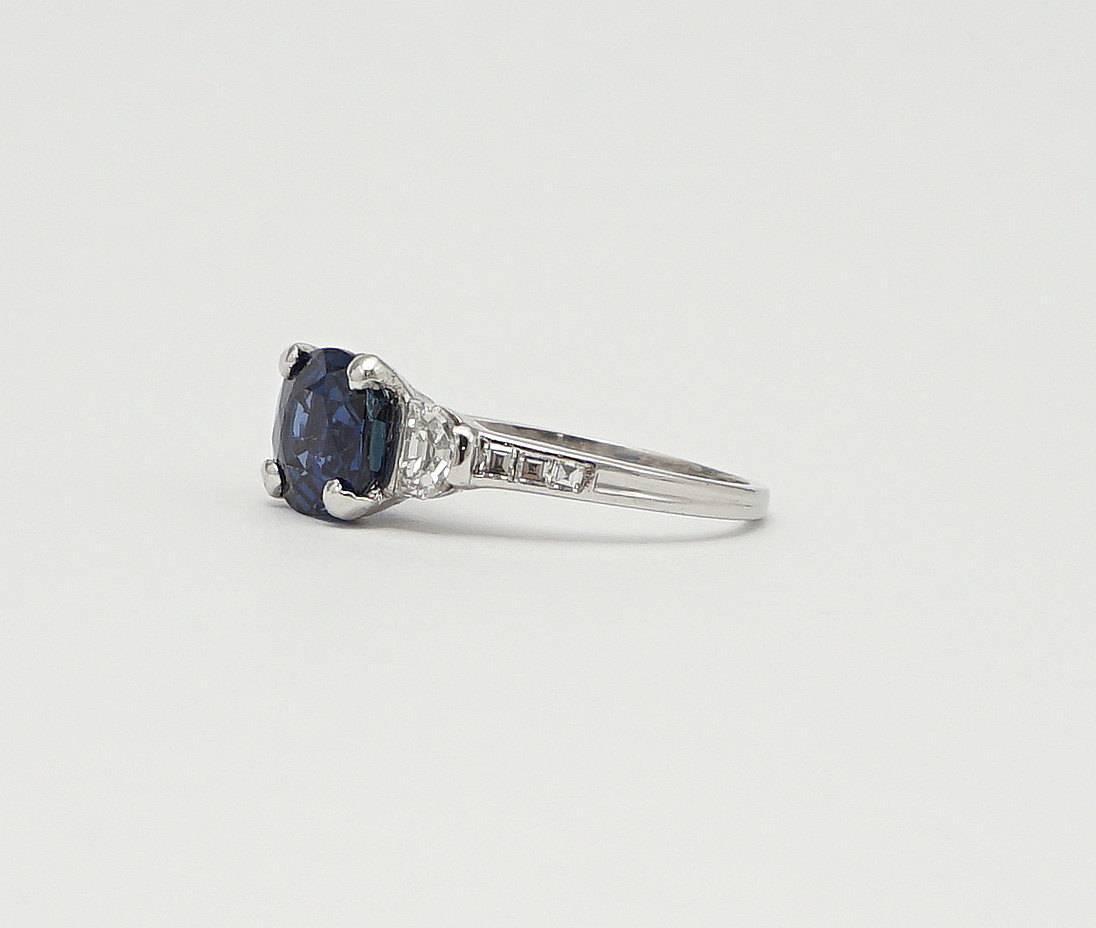 Tiffany and Co Art Deco 2 97 Carat Sapphire Half Moon Diamond Engagement Rin