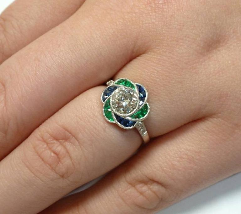 Blossoming Diamond Emerald And Sapphire Flower