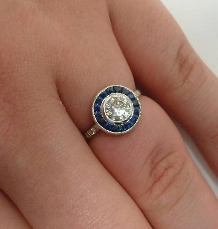 Vivid Blue French Cut Sapphire and Diamond Target Ring in Platinum 7