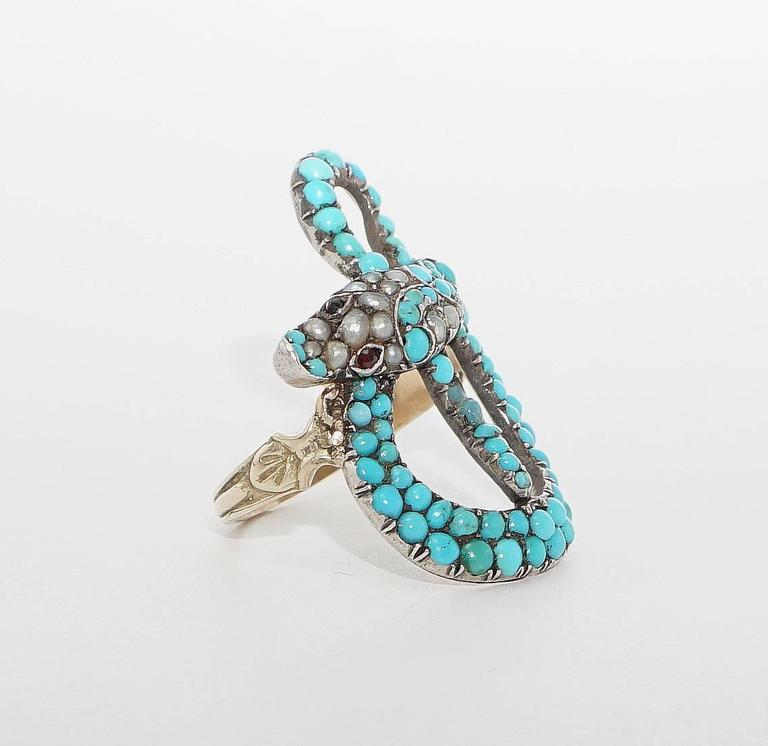 Exceptional Victorian Turquoise Pearl Ruby Gold Snake Ring 2