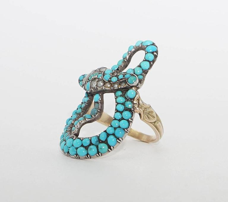 Exceptional Victorian Turquoise Pearl Ruby Gold Snake Ring 3